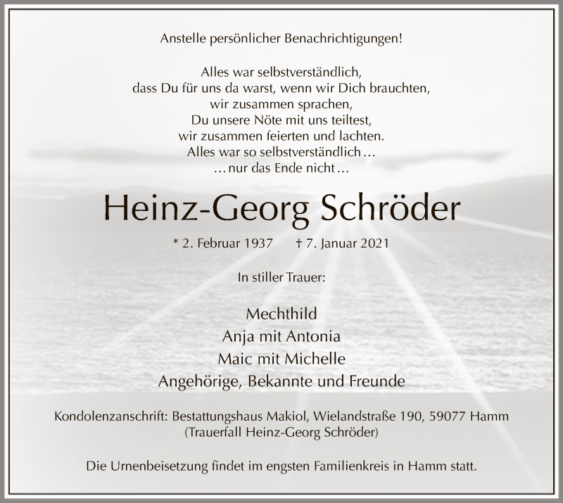 Traueranzeige für Heinz-Georg Schröder vom 12.01.2021 aus WA
