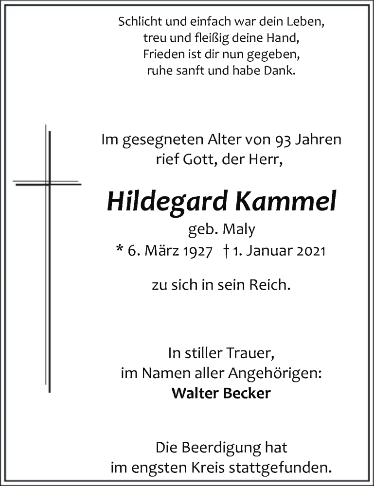 Traueranzeige für Hildegard Kammel vom 14.01.2021 aus WA