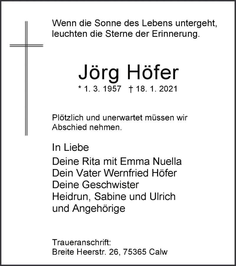Todesanzeige von  Jörg Höfer