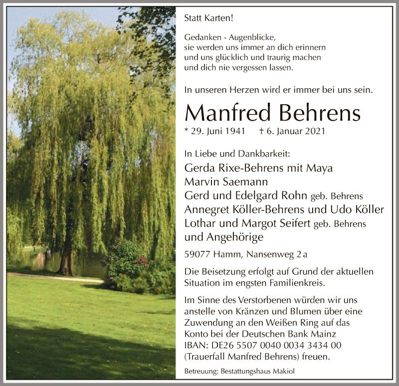 Traueranzeige für Manfred Behrens vom 12.01.2021 aus WA