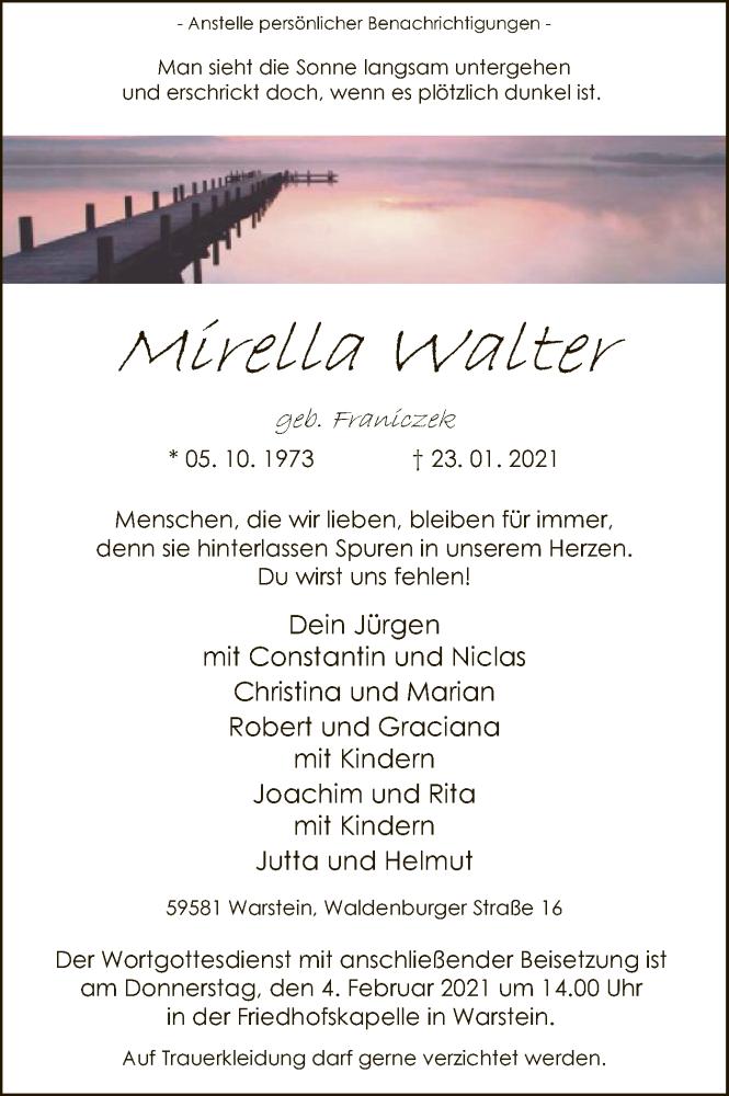 Traueranzeige für Mirella Walter vom 27.01.2021 aus WA