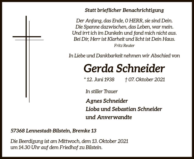 Traueranzeige für Gerda Schneider vom 09.10.2021 aus WA