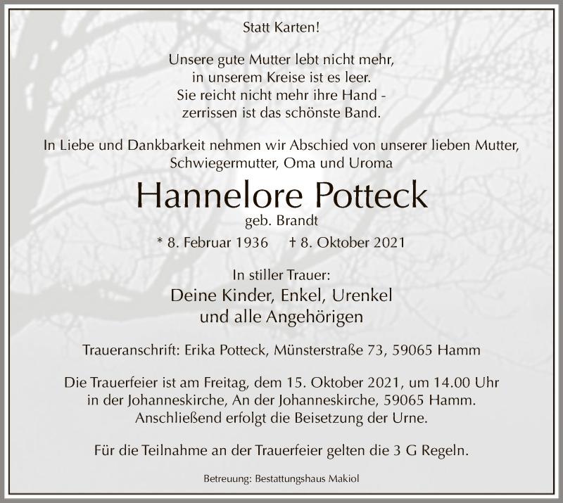 Traueranzeige für Hannelore Potteck vom 13.10.2021 aus WA