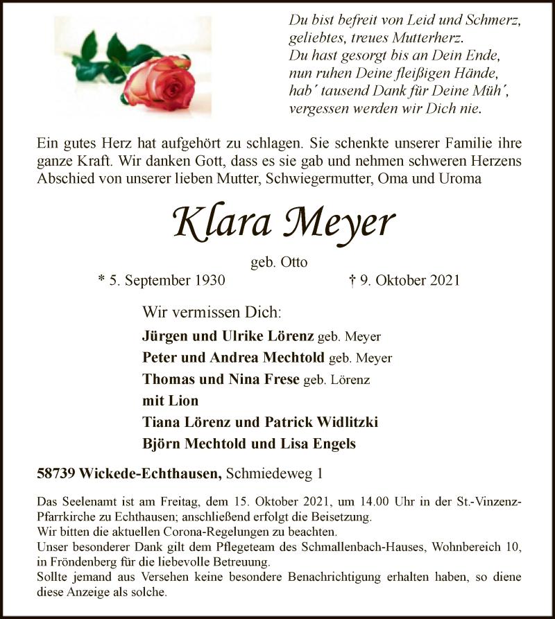 Traueranzeige für Klara Meyer vom 12.10.2021 aus WA
