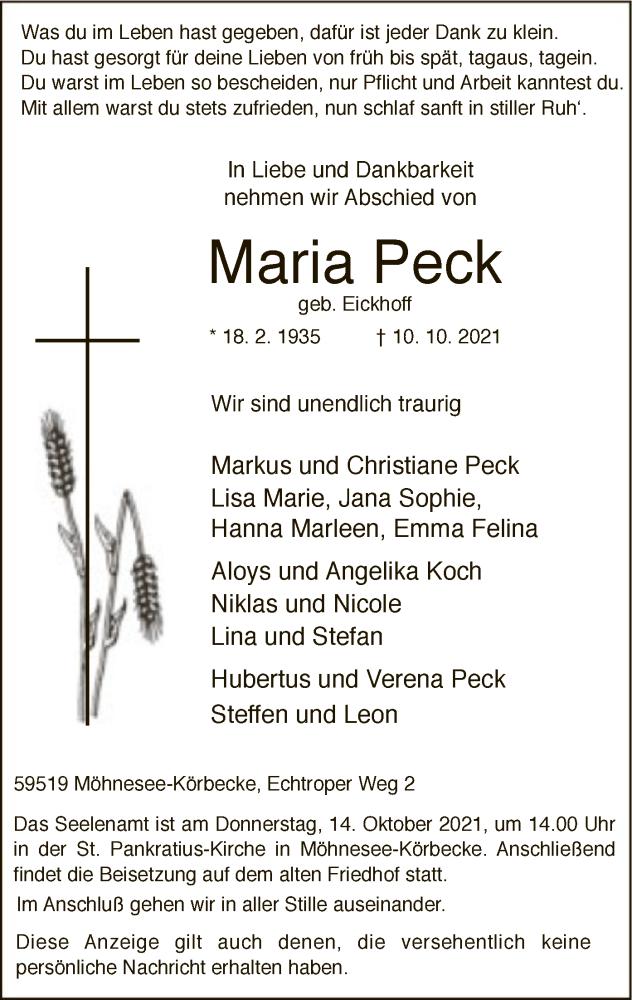 Traueranzeige für Maria Peck vom 12.10.2021 aus WA