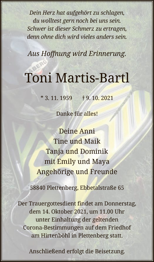 Traueranzeige für Toni Martis-Bartl vom 12.10.2021 aus WA