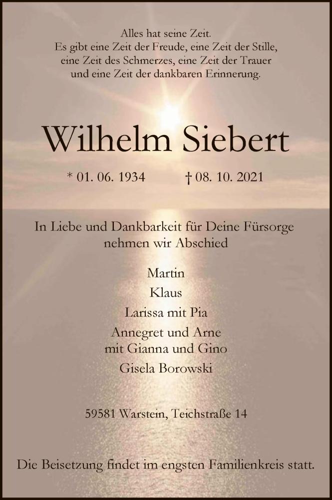 Traueranzeige für Wilhelm Siebert vom 13.10.2021 aus WA