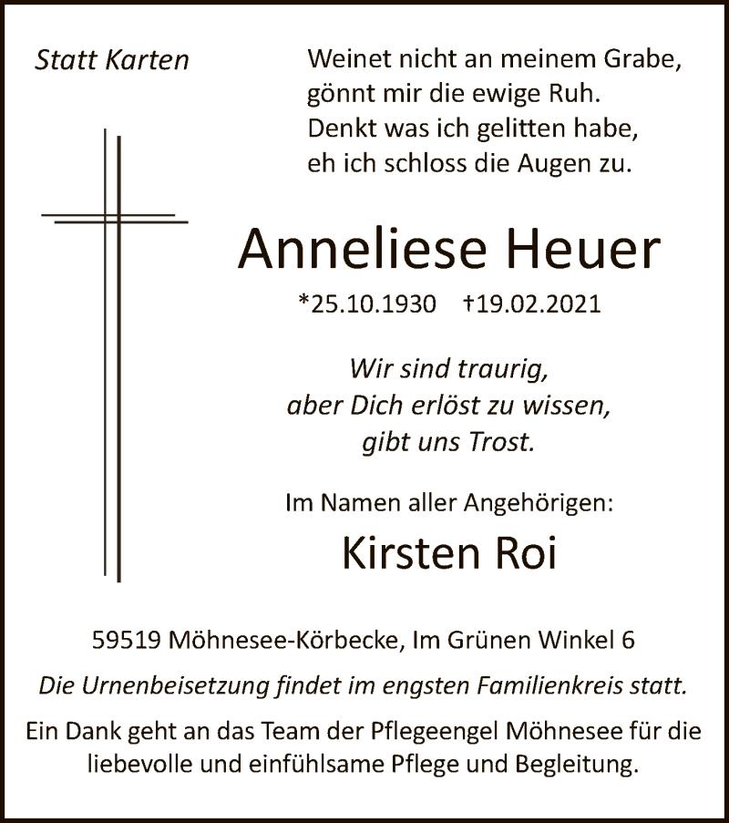 Traueranzeige für Anneliese Heuer vom 20.02.2021 aus WA