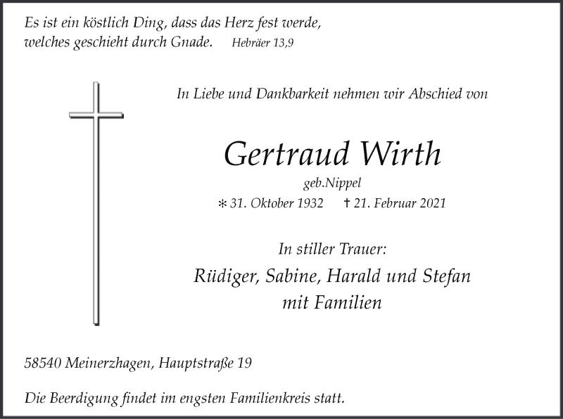 Traueranzeige für Gertraud Wirth vom 23.02.2021 aus WA
