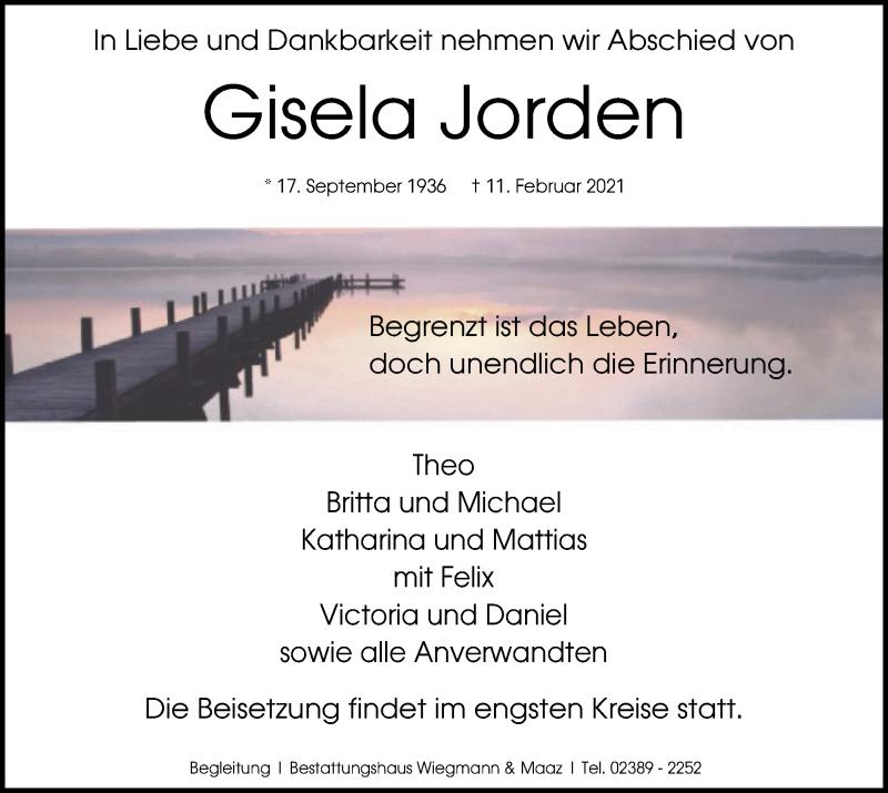 Traueranzeige für Gisela Jorden vom 23.02.2021 aus WA