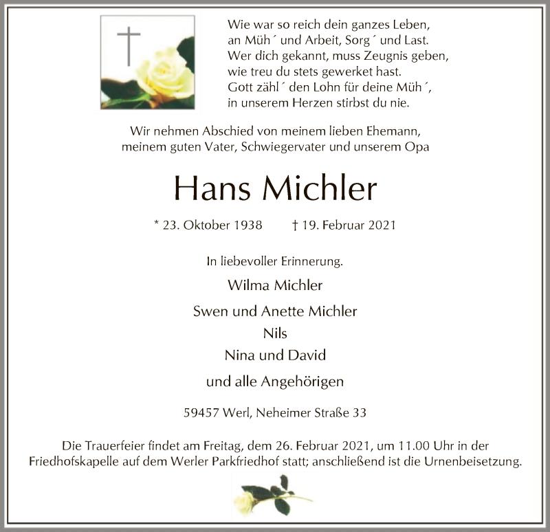 Traueranzeige für Hans Michler vom 23.02.2021 aus WA