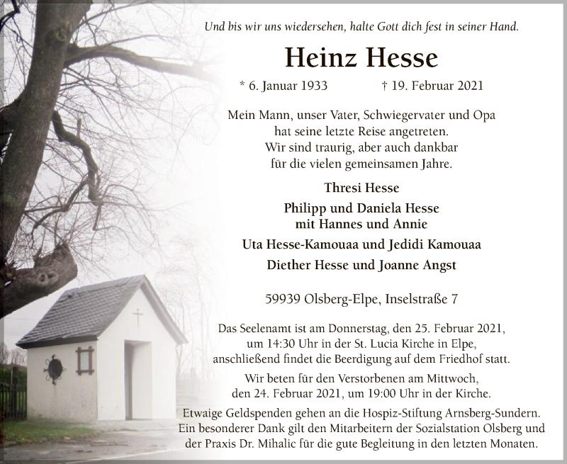 Traueranzeige für Heinz Hesse vom 20.02.2021 aus WA