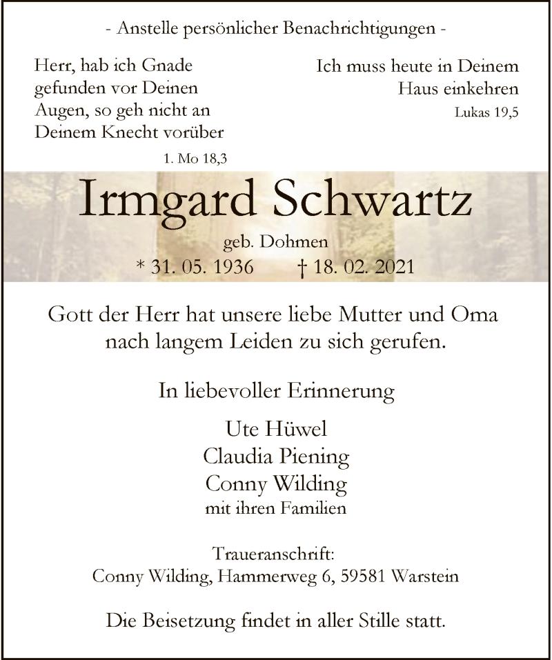 Traueranzeige für Irmgard Schwanz vom 20.02.2021 aus WA