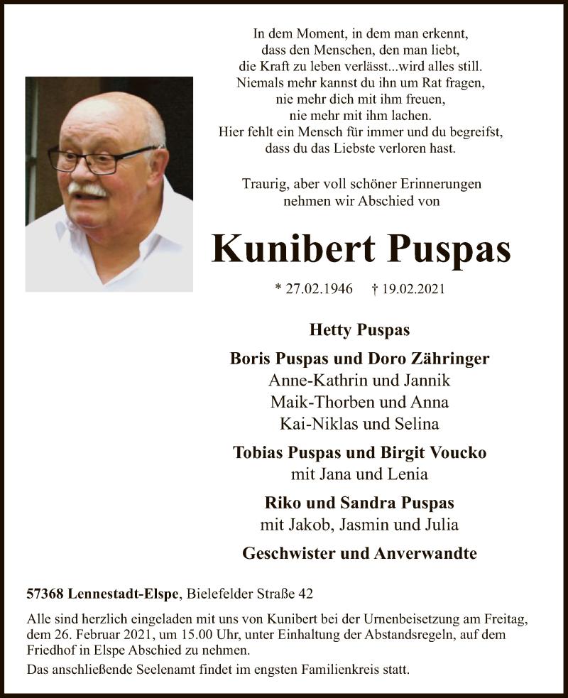 Traueranzeige für Kunibert Puspas vom 20.02.2021 aus WA