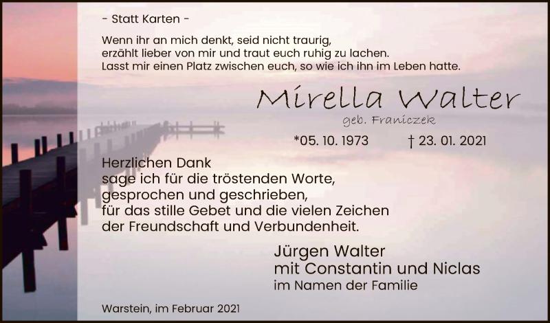 Traueranzeige für Mirella Walter vom 20.02.2021 aus WA