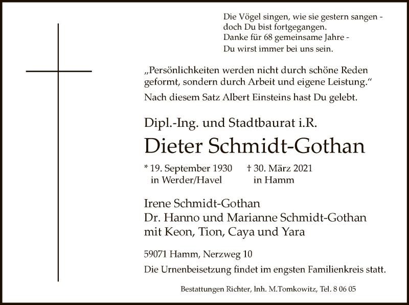 Traueranzeige für Dieter Schmidt-Gothan vom 08.04.2021 aus WA