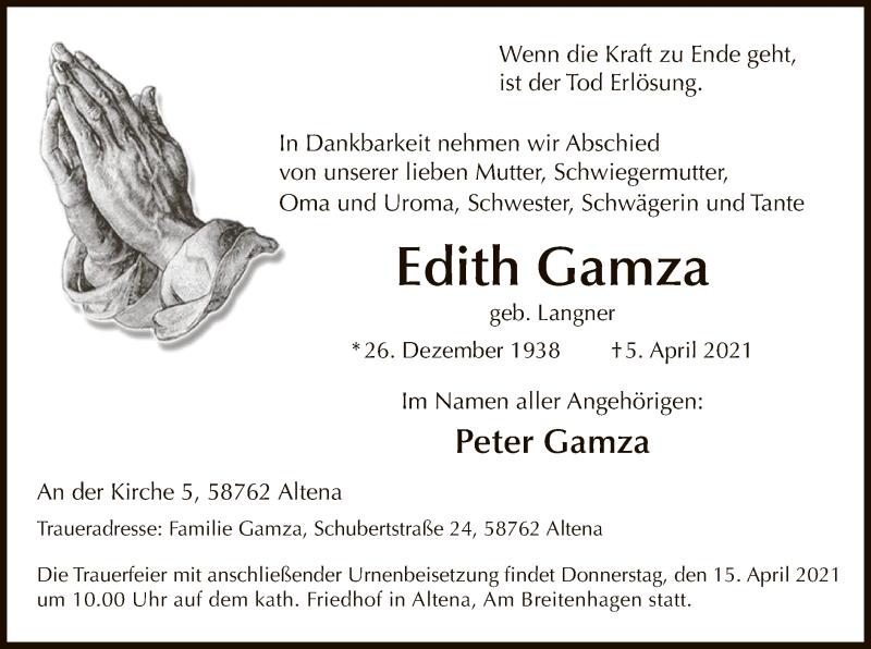 Traueranzeige für Edith Gamza vom 08.04.2021 aus WA