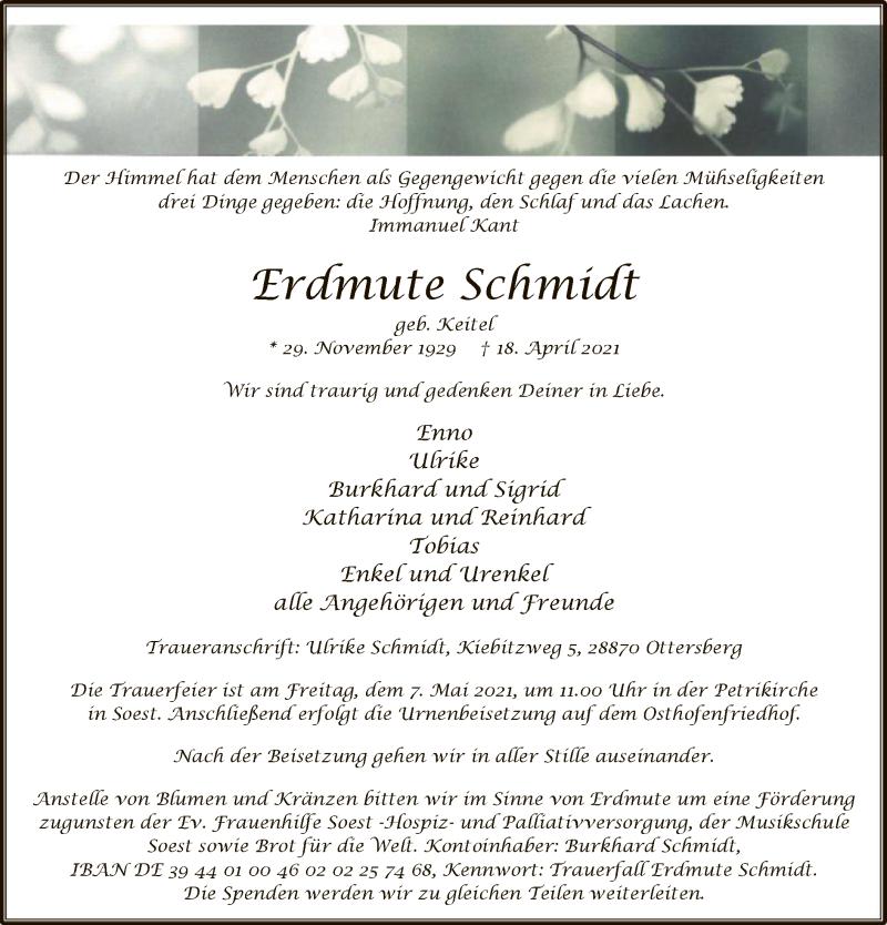 Traueranzeige für Erdmute Schmidt vom 24.04.2021 aus WA