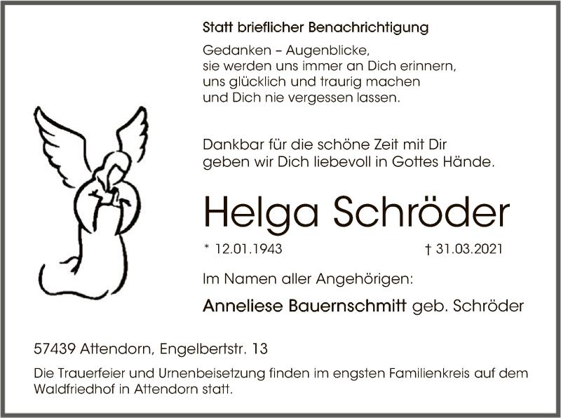 Traueranzeige für Helga Schröder vom 03.04.2021 aus WA