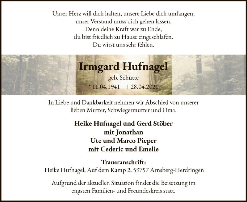 Traueranzeige für Irmgard Hufnagel vom 30.04.2021 aus WA
