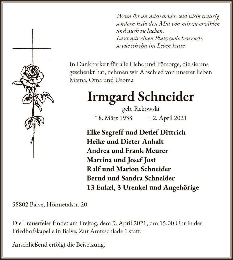 Traueranzeige für Irmgard Schneider vom 07.04.2021 aus WA