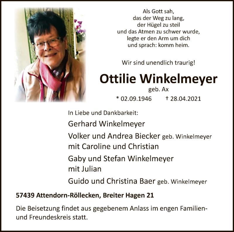Traueranzeige für Ottilie Winkelmeyer vom 30.04.2021 aus WA