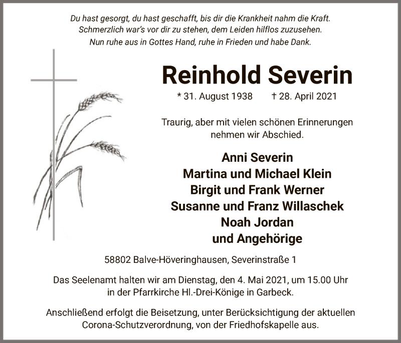 Traueranzeige für Reinhold Severin vom 30.04.2021 aus WA