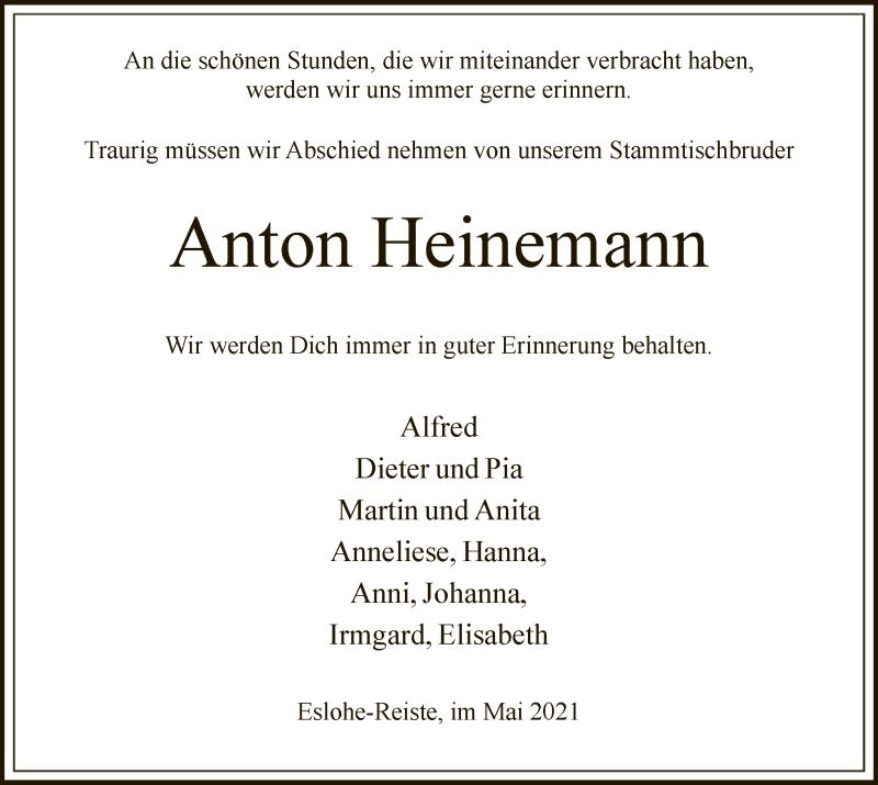 Traueranzeige für Anton Heinemann vom 08.05.2021 aus WA