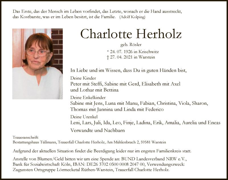Traueranzeige für Charlotte Herholz vom 03.05.2021 aus WA