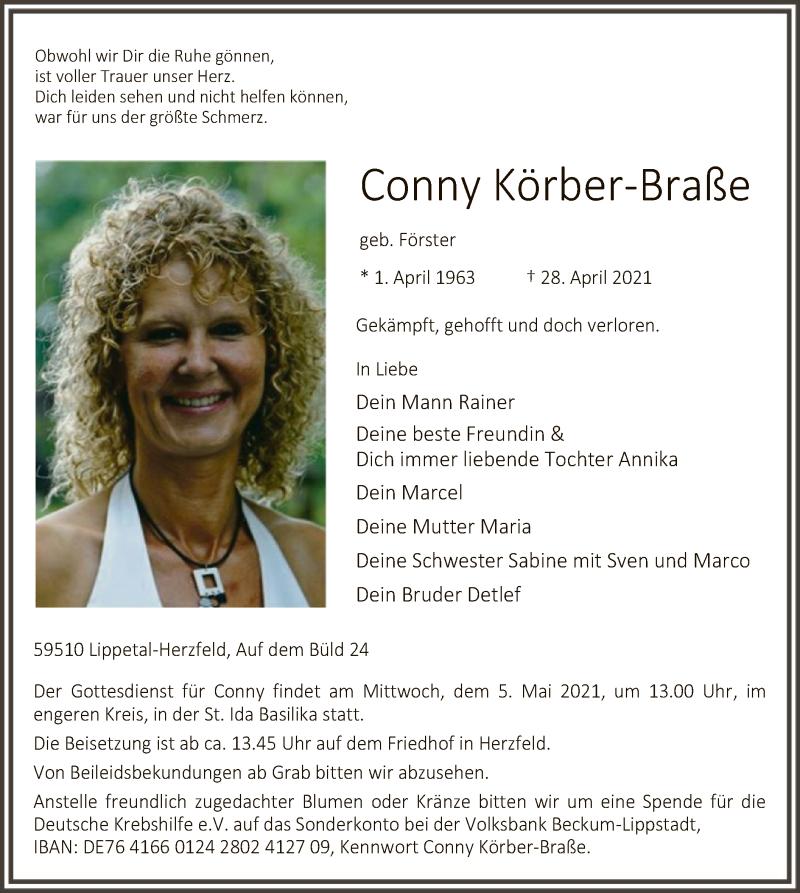 Traueranzeige für Conny Körber-Braße vom 03.05.2021 aus WA