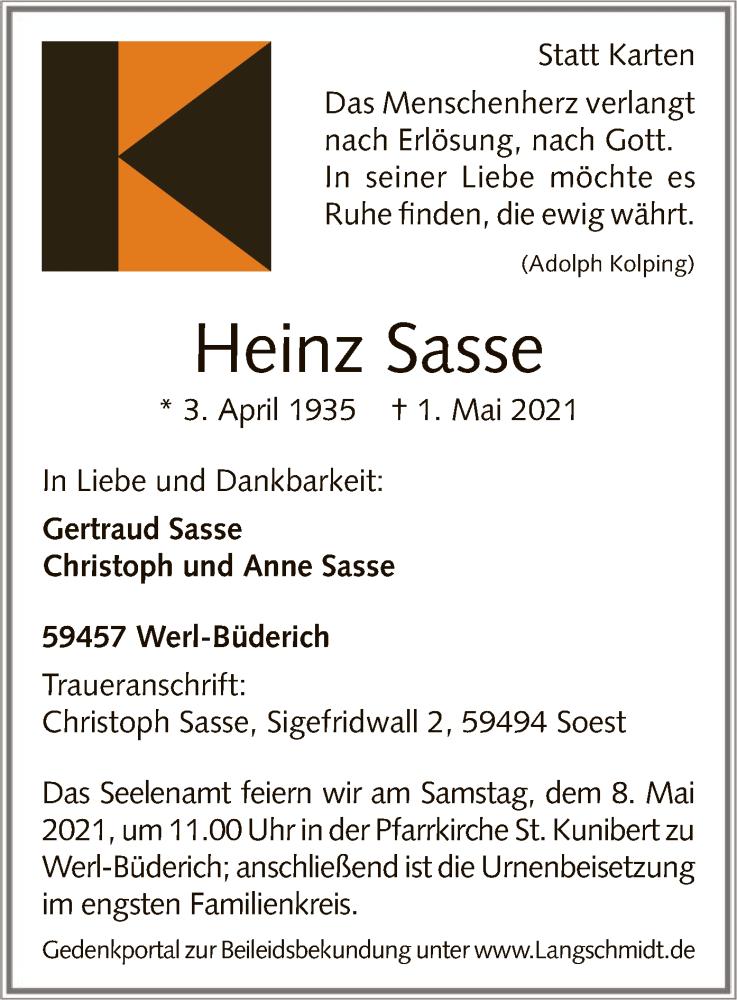 Traueranzeige für Heinz Sasse vom 04.05.2021 aus WA