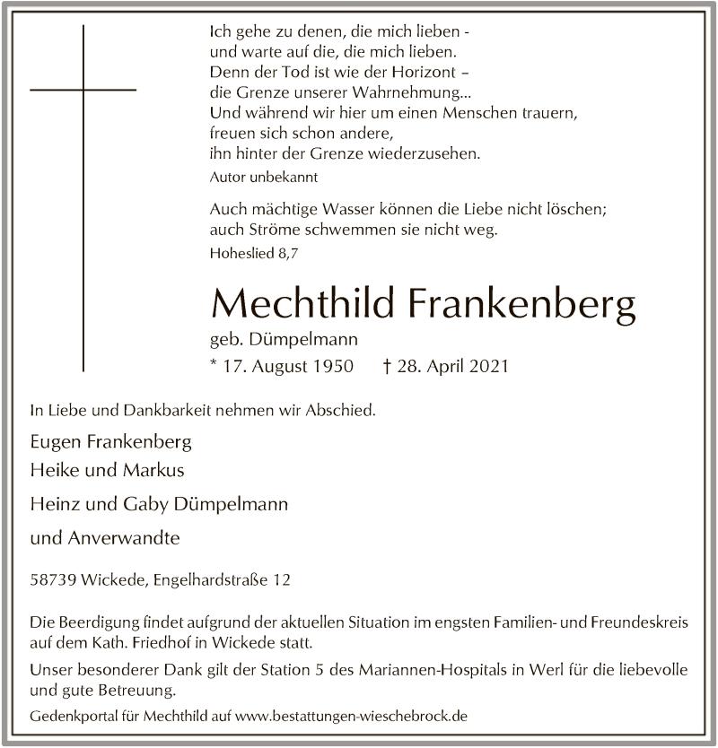 Traueranzeige für Mechthild Frankenberg vom 03.05.2021 aus WA