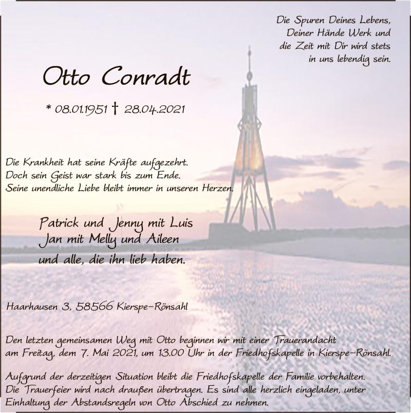 Traueranzeige für Otto Conradt vom 04.05.2021 aus WA