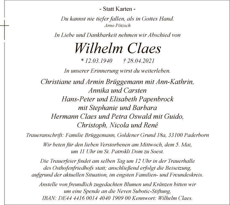 Traueranzeige für Wilhelm Claes vom 04.05.2021 aus WA