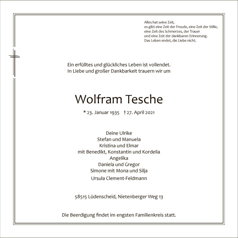 Traueranzeige für Wolfram Tesche vom 04.05.2021 aus WA