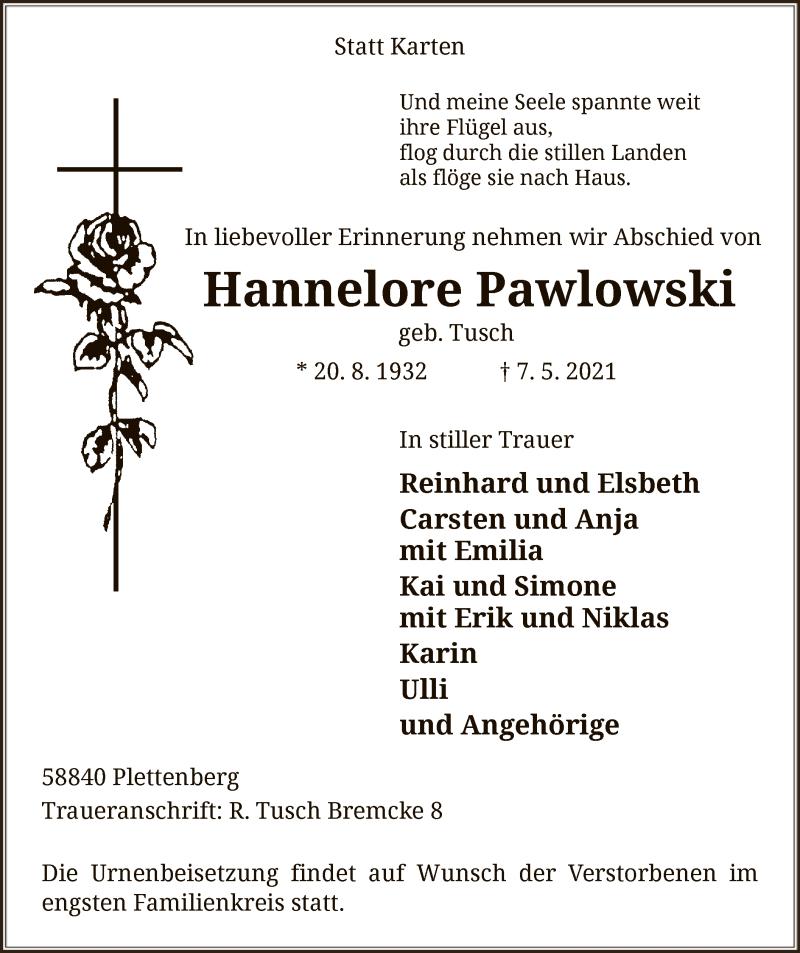 Traueranzeige für Hannelore Pawlowski vom 11.05.2021 aus WA