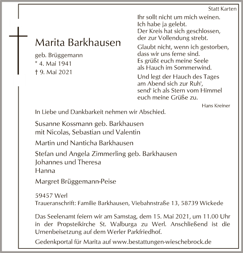 Traueranzeige für Marita Barkhausen vom 12.05.2021 aus WA