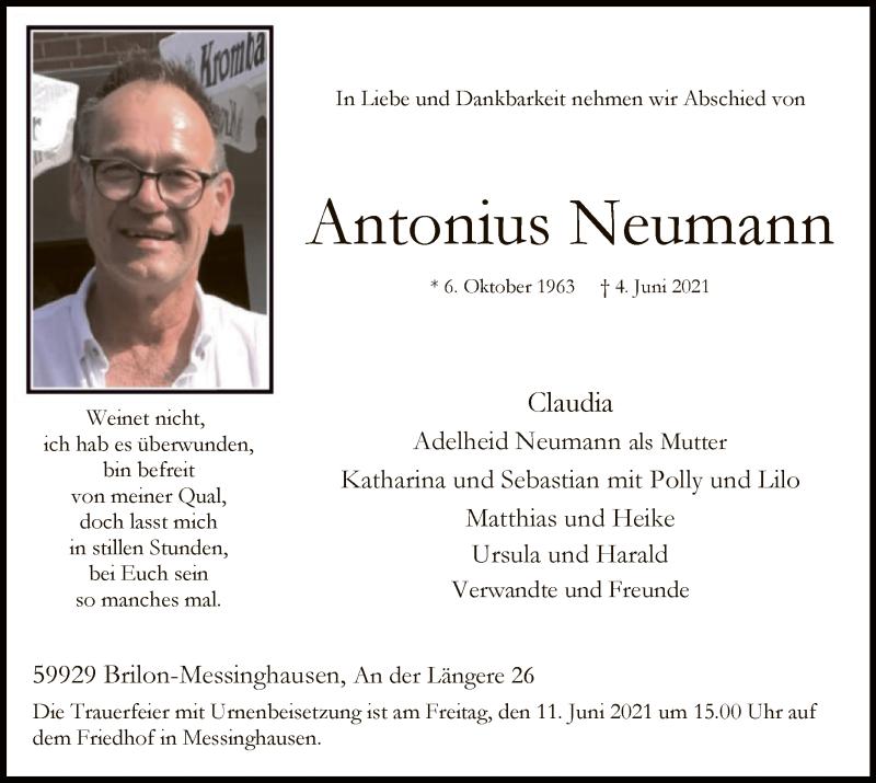 Traueranzeige für Antonius Neumann vom 05.06.2021 aus WA