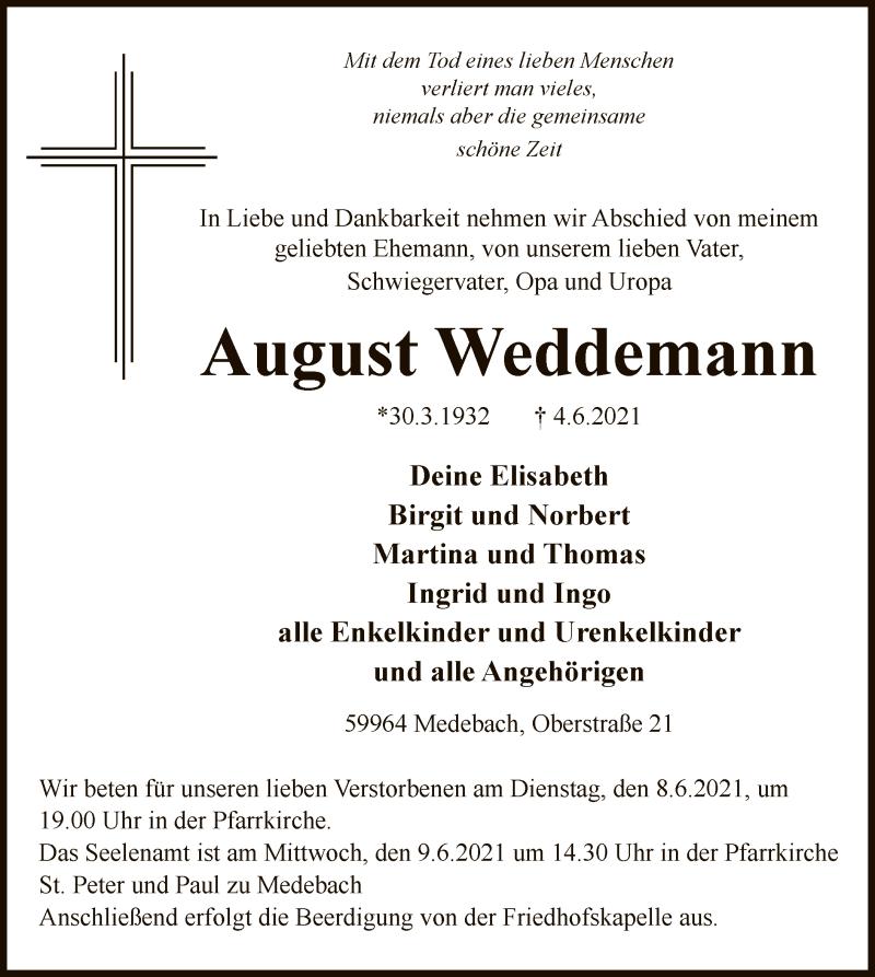 Traueranzeige für August Weddemann vom 05.06.2021 aus WA