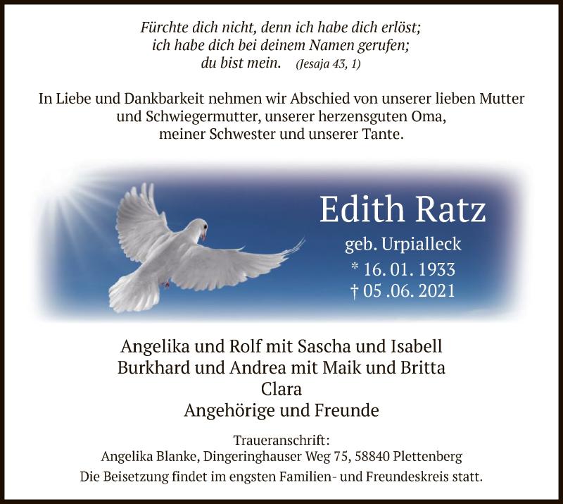 Traueranzeige für Edith Ratz vom 09.06.2021 aus WA