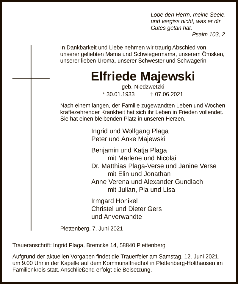 Traueranzeige für Elfriede Majewski vom 10.06.2021 aus WA