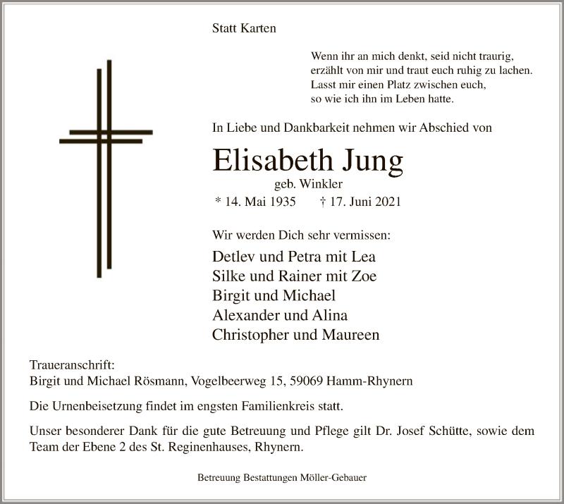 Traueranzeige für Elisabeth Jung vom 22.06.2021 aus WA