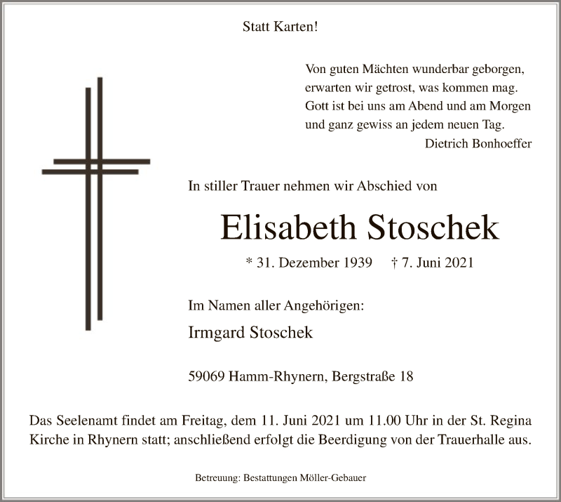 Traueranzeige für Elisabeth Stoschek vom 09.06.2021 aus WA