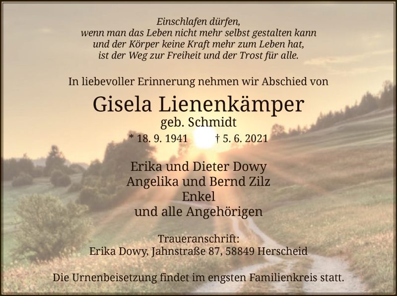 Traueranzeige für Gisela Lienenkämper vom 09.06.2021 aus WA