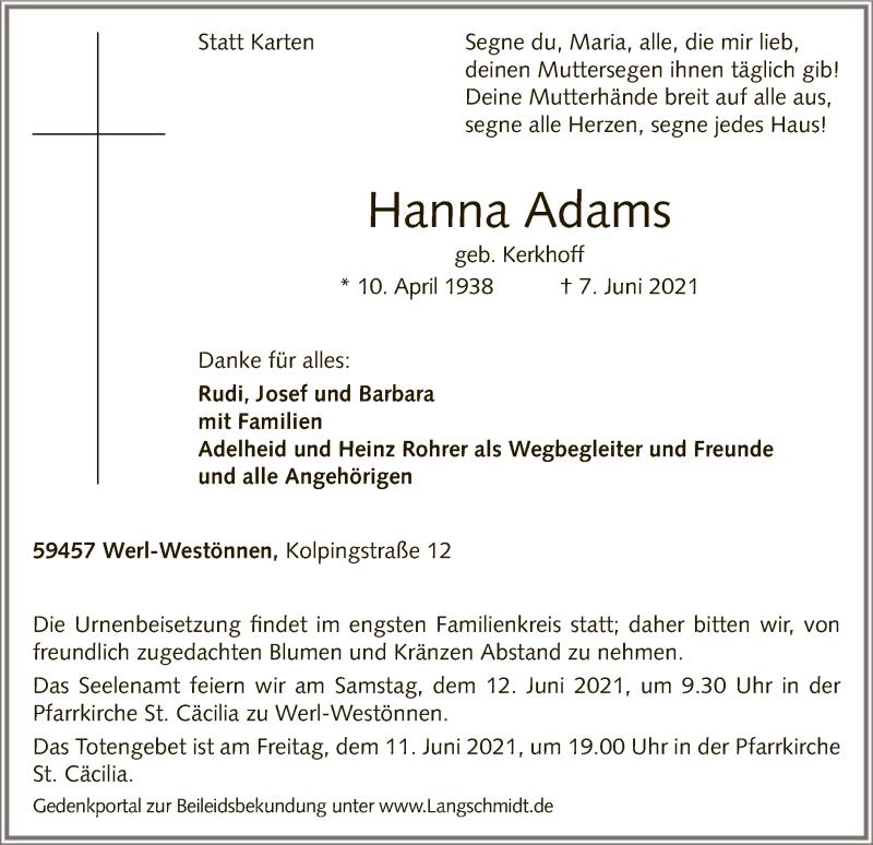 Traueranzeige für Hanna Adams vom 10.06.2021 aus WA