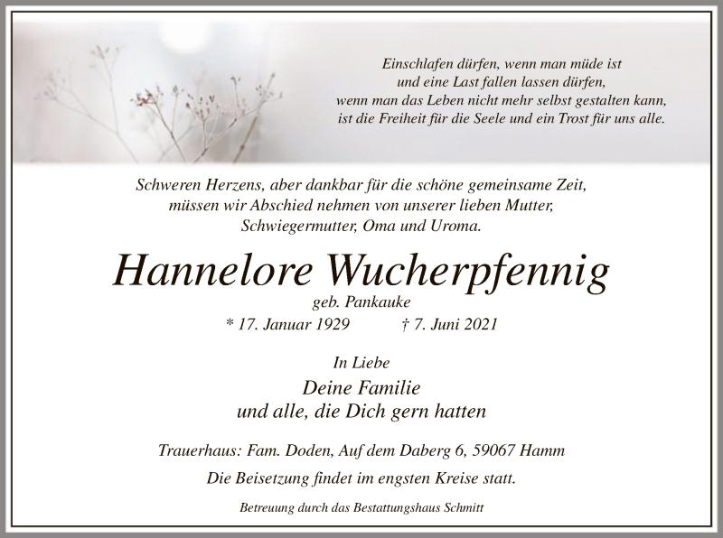 Traueranzeige für Hannelore Wucherpfennig vom 10.06.2021 aus WA