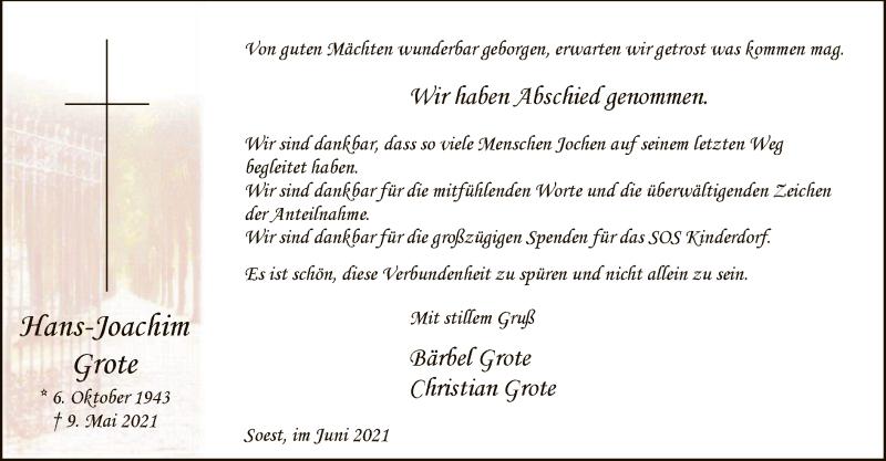 Traueranzeige für Hans-Joachim Grote vom 11.06.2021 aus WA