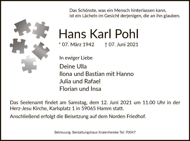 Traueranzeige für Hans Karl Pohl vom 10.06.2021 aus WA