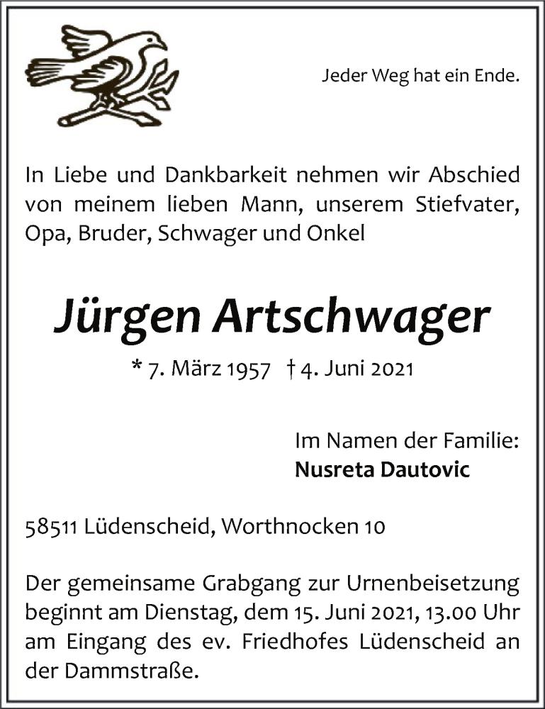 Traueranzeige für Jürgen Artschwager vom 09.06.2021 aus WA