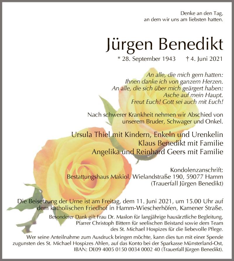 Traueranzeige für Jürgen Benedikt vom 09.06.2021 aus WA